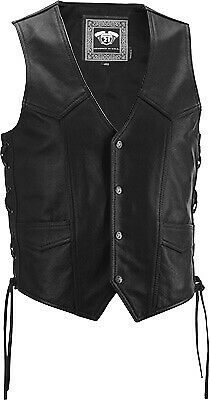 Highway 21 Men's Six Shooter Black Traditional Premium Leather Motorcycle Vest