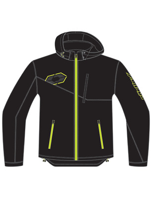 Castle Mens Barrier G2 Tri-Lam Hooded Soft Shell Under Layer Jacket Black Hi-Vis