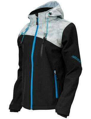 Castle Womens Barrier G2 Tri-Lam Hooded Soft Shell Under Layer Jacket Black Gray