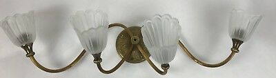 Vintage Antique VICTORIAN ART DECO 4 ARM Wall Sconce Tulip Light Fixture Salvage