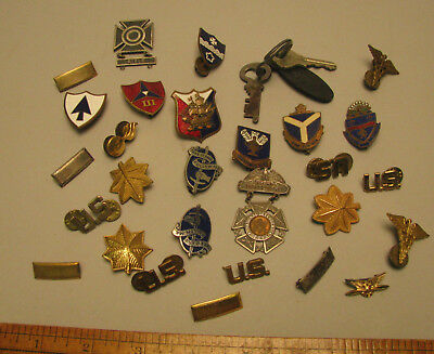 WWII Pins Rank Officer's Distintive Unit Insignia Badges Sterling, Etc. Major