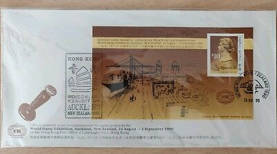 Hong Kong 1990 New Zealand Stamp Exhibition $10 M/S FDC SGMS646. Cat £85+