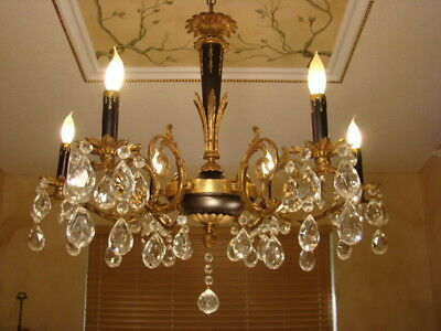 Amazing Antique Brass Bronze & Crystal Empire Chandelier