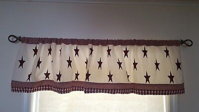 Primitive Country Ivory & Burgundy STAR HOMESPUN Valance Window Curtains, pair