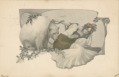 Art Nouveau Style hand-tinted postcard #194 - 1907 - Woman with a pet white BEAR