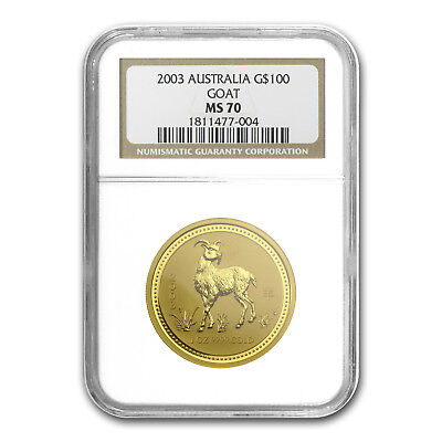 2003 1 oz Gold Lunar Year of the Goat MS-70 NGC (Series I) - SKU#83391