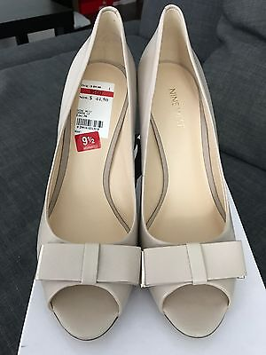 c38ac6f9763 NINE WEST ABLE Mid-Heel Pumps Taupe Open Toe Shoes 9.5 M -  39.95 ...