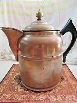Antique VTG Tea / Water / Coffee Kettle Pot Nickel-Plated Copper Collectors 5 PT
