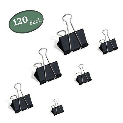 Binder Clips 120Pcs Black Metal File Paper Clip Photo Stationary Office Supplies