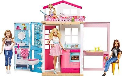 Girls Doll House Play Set Pretend Play Toy for Kids Pink Dollhouse for Girls