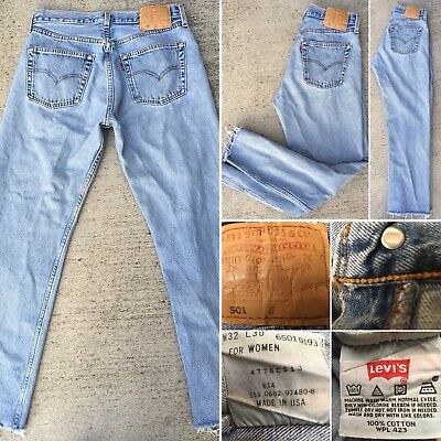 Vintage Levi's 501 Jeans For Women High Waist Button Fly Jeans Made In USA Sz 32