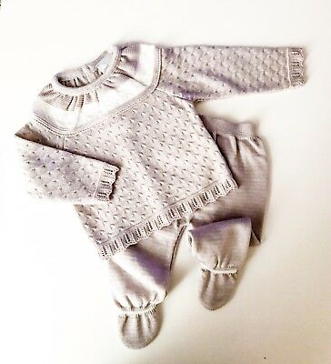 Traditional Spanish Style Baby Boys and Girls Grey Knitted Outfit