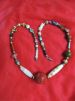 Vintage Chinese export carved stone cinnabar bird flower bead necklace
