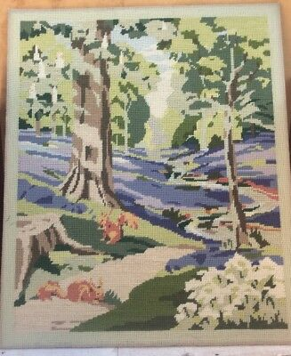 Fab Vtg Completed Tapestry Bluebells & Red Squirrels In The Wood Pastel Colours