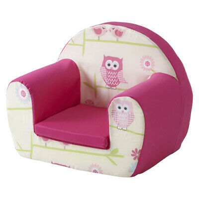 Owls Twit Twoo Pink Childrens Kids Comfy Foam Chair Toddlers Armchair Seat Girls