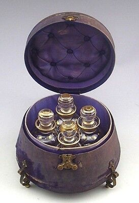 Antique c.1775 French Four Bottle Toiletry Perfume Box Casket
