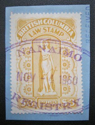 BC Canada British Columbia $3 Law Stamp BCL55 with SON Nanaimo Registry Cancel
