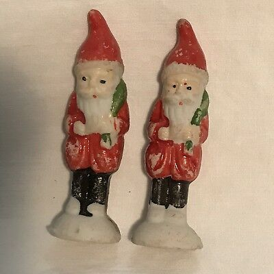 2 Japan Miniature All Bisque Santa Clause