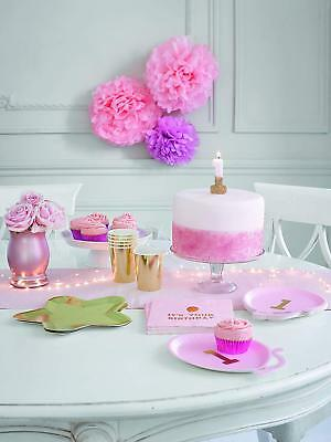Girls Pink Gold First 1st Birthday Party Decorations Tableware Bunting One