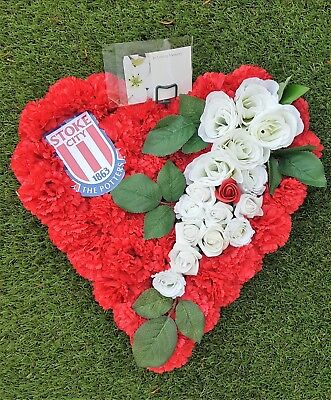 Stoke City Football Club Artificial Wreath Funeral Flowers Heart Tribute