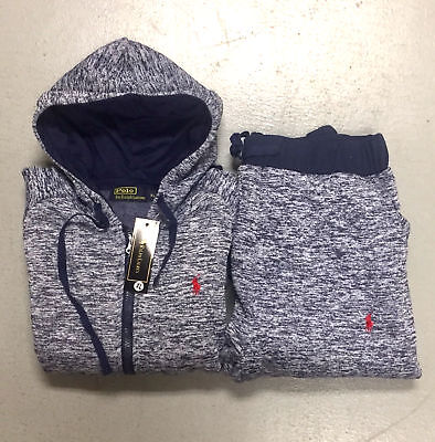 New Polo Ralph Lauren Women's Sweat Suit Stone Blue Complete Set Free Shipping
