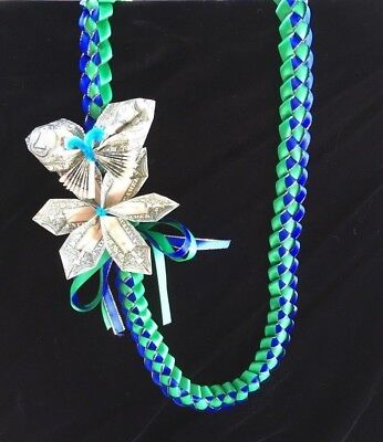Green Blue Ribbon Money Lei $5 Birthday Wedding Celebrate Graduation Hawaiian