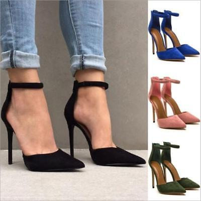 Sexy Womens Ankle Strape Pointy Toe Shoes Fashion Zipper High Heel Suede Sandals