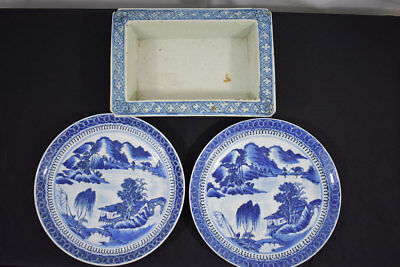 Lot Of 3 Antique Chinese Blue & White Plates & Planter 19Th Century