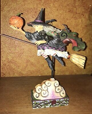 Jim Shore Fly With Me For A Spell Witch Figurine, Halloween