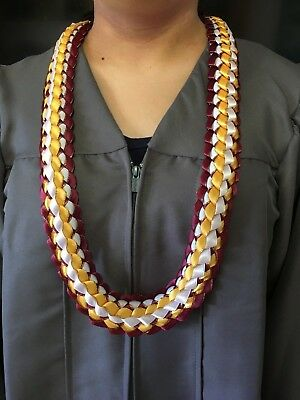 Maroon Gold Ribbon Lei Graduation Celebrate Coach Football USC ASU Gryffindor