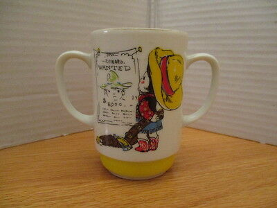 Vintage Ceramic Child's cup-2 Handles-aPrice Import-Made in Japan-Cowgirl