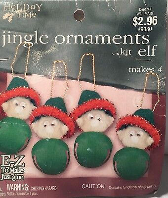 Vintage Holiday Time (9080) 4 Pieces Christmas Jingle Elf Ornament Kit NIP