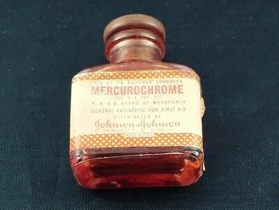 Mercurochrome glass Bottle Rubber Stopper Vintage First Aid Tiny