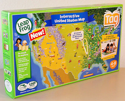 LEAPFROG TAG INTERACTIVE United States Map 2 Sided Jumbo Size 35 x ...