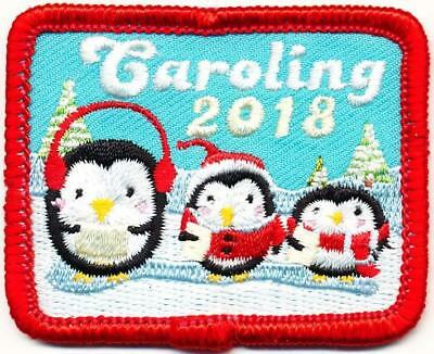 Girl Boy Cub Xmas CAROLING 2018 '18 Fun Patches Crest Badge SCOUT GUIDE Penguin