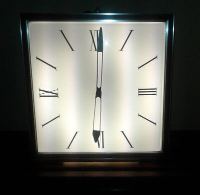 """Vtg 70's 16""""x16"""" Lighted Industrial Factory Electric Wall Clock Works Great VGC"""