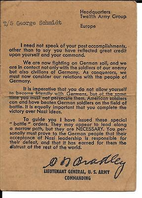 WWII Card, About German People, Hdq. 12th Army Group, Gen. Omar N. Bradley