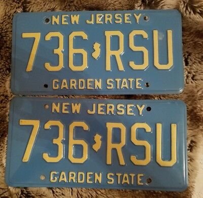 Matched Pair New Jersey License Plates 1984 Garden State 736 RSU  Blue