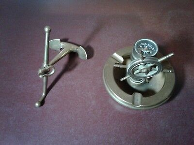 Vintage Nautical Ships Wheel Helmstand Brass Ashtray With Compass & Paper Weight