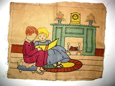Vintage 1930's Embroidered Linen 14 X18 Picture Boy & Girl Reading By Fireplace