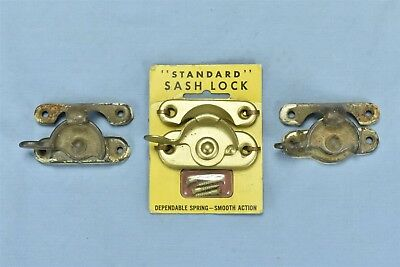 Vintage LOT of 3 SASH WINDOW LOCKS 1 STANDARD on DISPLAY CARD 2 CAST IRON #05956