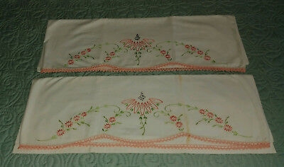 Vintage Pillow Cases ~ Hand Embroidered & Crocheted Edge ~ Look!