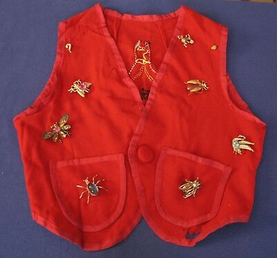 Vintage Cootie Auxiliary Vest with Rhinestone bugs spiders galore