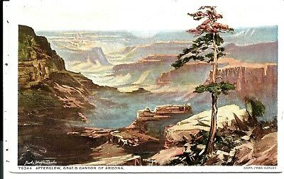 1001 Afterglow, Grand Canyon, DETROIT.- FRED HARVEY  Postcard.