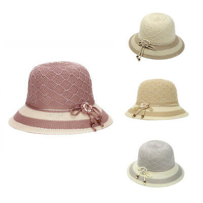 BU_ Women Lady Summer Breathable Sun Braided Trim Straw Bowler Cap Cloche Hat Fl