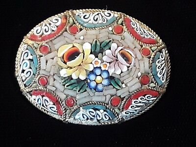 Vintage Antique Italian Fine Micro Mosaic Oval Brass Tone Brooch Pin Floral