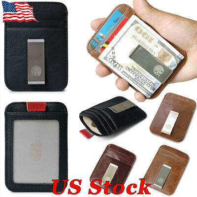 f9c7f4179863 MINI MEN SLIM Front Pocket Wallet With Money Clip RFID Blocking Leather  Bifold