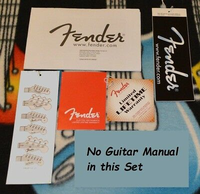 FENDER Strat or Tele Tags Paperwork USA New CASE CANDY No Owners Manual