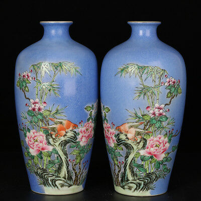 Chinese antique Famille-rose Birds and flowers pattern Porcelain vase tank