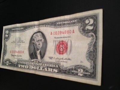 1963 Two Dollar Bill -Red Seal-A 00394880 A